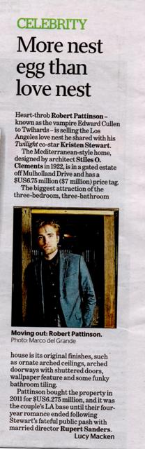 Robert Pattinson in Australia Real Estate News