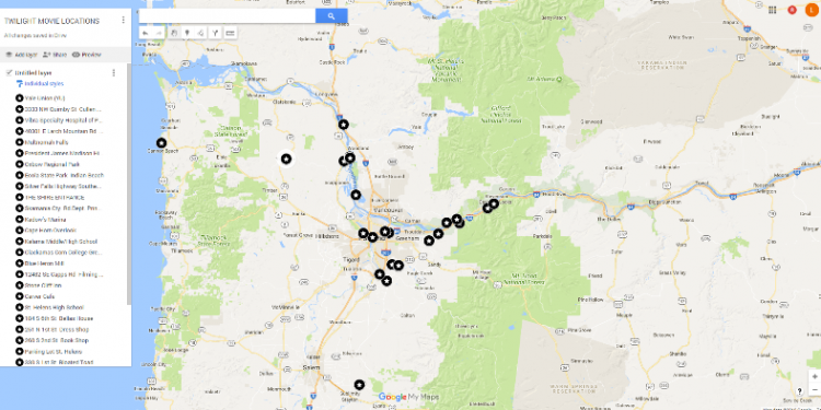 TWILIGHT MOVIE LOCATIONS GOOGLE MAP – Twilight Girl